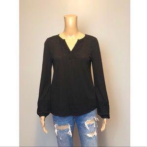 Lucky brand black long sleeve v neck shirt